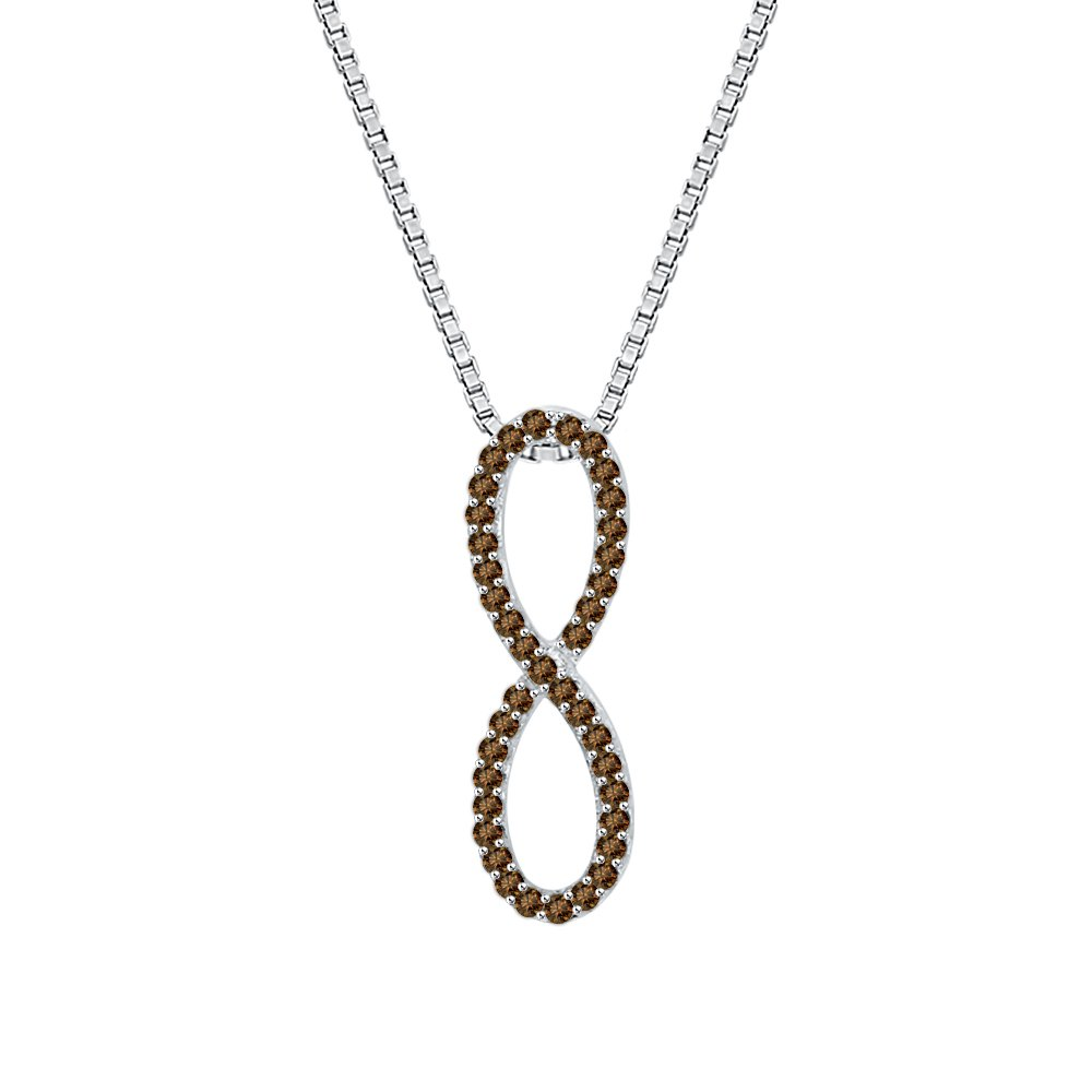 1//8 cttw KATARINA Cognac Diamond Infinity Pendant Necklace in 10K Gold