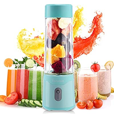 Foruisin Portable Personal Blender USB Rchargeable juicer faster fruit shake and Smoothies mixer with Charging head and line Six blades 500ML 4000mAh