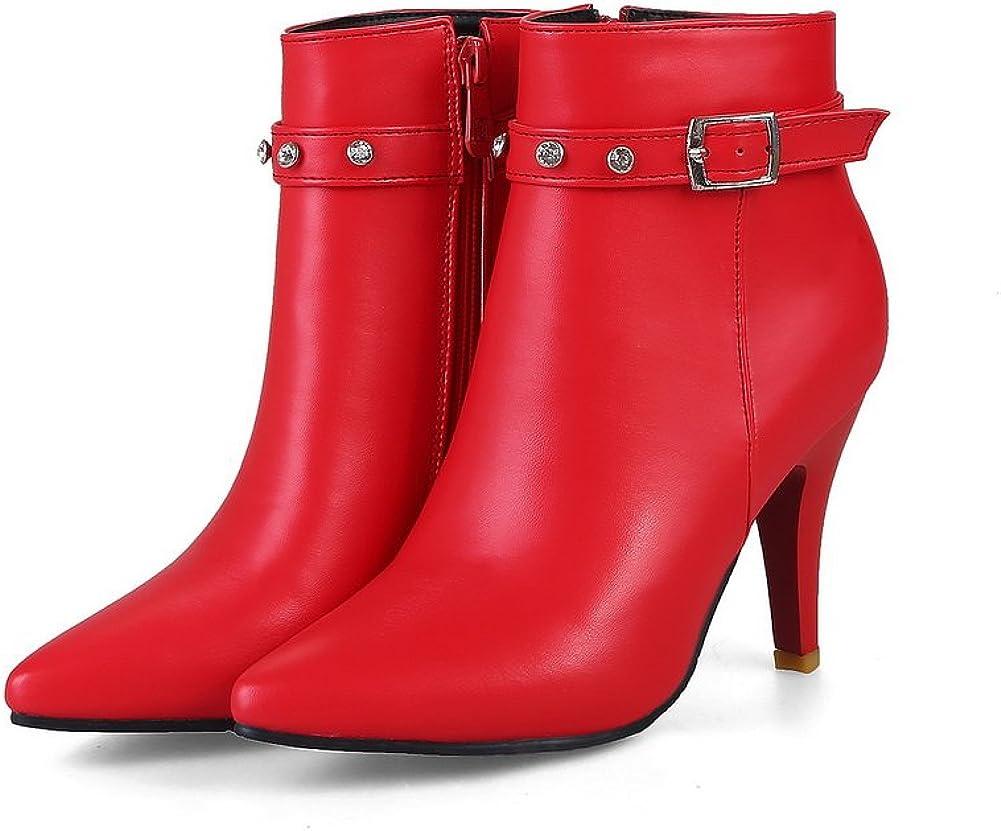 US AandN Womens Boots Zip High-Heel Waterproof Cushioning Bootie Fashion Low-Top Red Boots DKU01829-5 B M