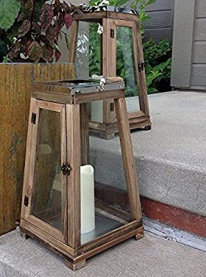 Set of 2 Burges Wood and Stainless Steel Lanterns