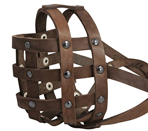 Real Leather Dog Basket Muzzle #112 Brown (Circumference 13, Snout Length 3) English Bulldog, Boxer by Dogs My Love