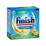Finish Gelpacs All in 1 Orange Scent Dishwasher Detergent, 32 count per pack - 8 per case.