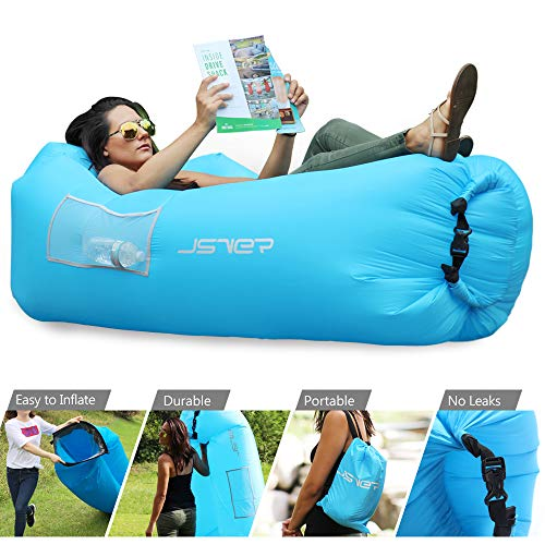 JSVER Inflatable Lounger Air Sofa Hammock Portable Waterproof Anti-Air Leaking Inflatable Lounger Pouch Couch Air Chair with Pillow for Backyard Lakeside Pool Beach Traveling Outdoor Camping Picnics (Inflate Chair)