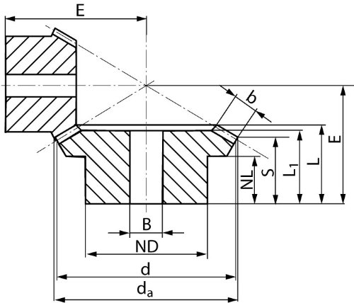 Bevel gear made of steel module 2 40 teeth i=2:1 milled