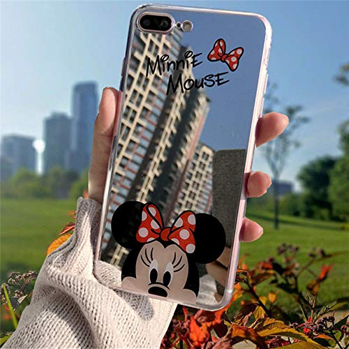 (Fitted Cases - Cartoon Minnie Mouse Silicone Case for iPhone 6s Plus Case TPU Mickey Mirror Cover for iPhone X Xr Xs Max 7 8 Plus 5 5s SE Cases - by ANNELE - 1 PCs)