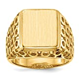 Roy Rose Jewelry Mens Open Circle Sides Square Signet Ring with Free Engraving Available of Initials Monogram ~ Size 10 in Solid 14K Yellow Gold