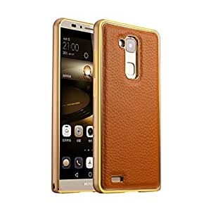 Para Huawei Ascend Mate7 , ivencase Luxury Litchi Textura Genuino Cuero & Exquisito [Aluminum Metal Frame] Dual Hybrid Layer Bumper Trasero Protector Funda Carcasa Tapa Case Cover Para Huawei Ascend Mate7 Marrón