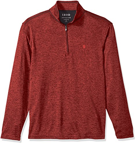 (IZOD Men's Advantage Performance Solid 1/4 Zip Fleece, Saltwater Red, Medium)