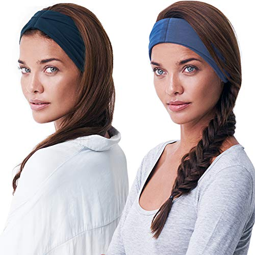 BLOM Original Headband Two Pack. Women's Headbands for Yoga Fashion Workout Sports Athletic Exercise. Wide Sweat Wicking Stretchy. Happy Head Guarantee Style & Quality. (Navy + Indigo)