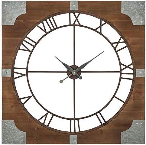 Ashley Furniture Signature Design – Palila Industrial Wall Clock – Casual – Brown Silver Finish