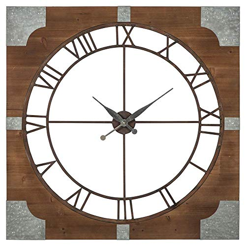 Ashley Furniture Signature Design – Palila Industrial Wall Clock – Casual – Brown Silver Finish