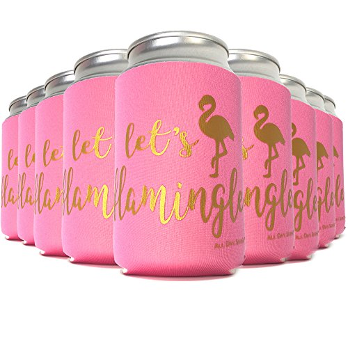 Flamingo Party Supplies LET'S FLAMINGLE 11 Can Cooler Sleeves + BONUS FUN PHOTO GAME | Birthday Decoration, Bachelorette Favors, Bride Tribe Gift, Wedding Accessories, Bridesmaid | 10 Pink & 1 White