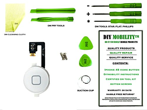 Sliding Flex Cable - iPhone 4S White Home Button with Flex Cable PREMIUM Kit with DM Tools, Cleaning Cloth, and Instructions Included - DIYMOBILITY
