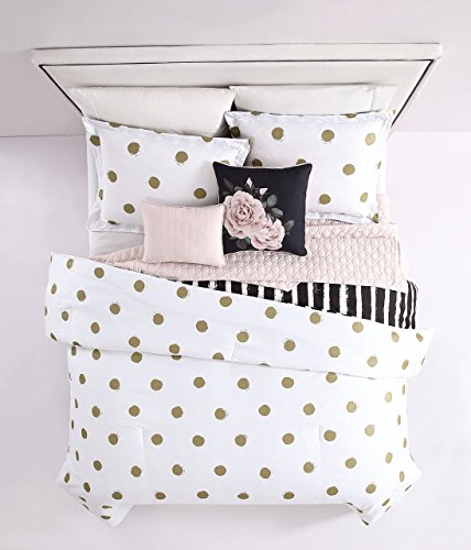 SampL Home Fashion 5Piece Emma Gold/White/Blush with Quilted Throw Comforter Set Twin/Twin XL
