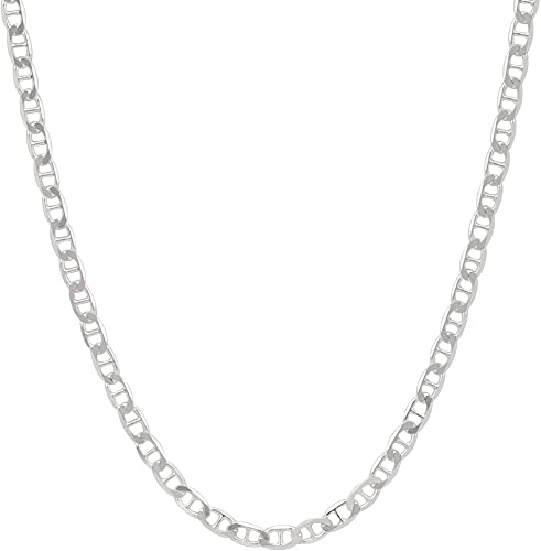 4.1mm Mens Solid .925 Sterling Silver Mariner Link Anchor Chain Necklace