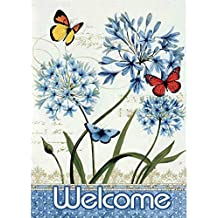 Bokeley Welcome Butterfly Garden Flag Garden Decoration 12.5 x 18inch (Multicolor)
