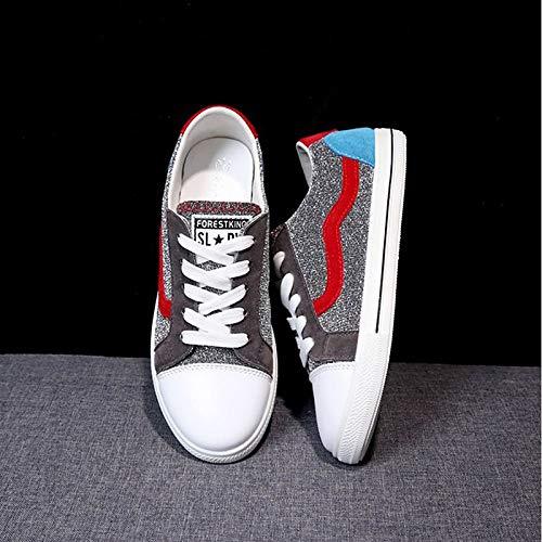 Sneakers da Tacco blu Punta ZHZNVX Canvas piatto Autunno Scarpe Comfort donna rosso rotonda Red pYawZwqx