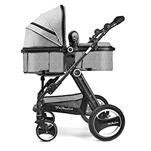 YBL Four rounds Baby stroller Four seasons sleeping basket Two-way implementation High landscape Folding suspension Baby carriage Can sit and lie down Suitable for 0-3 years old Neonatal by YBL that we recomend personally.