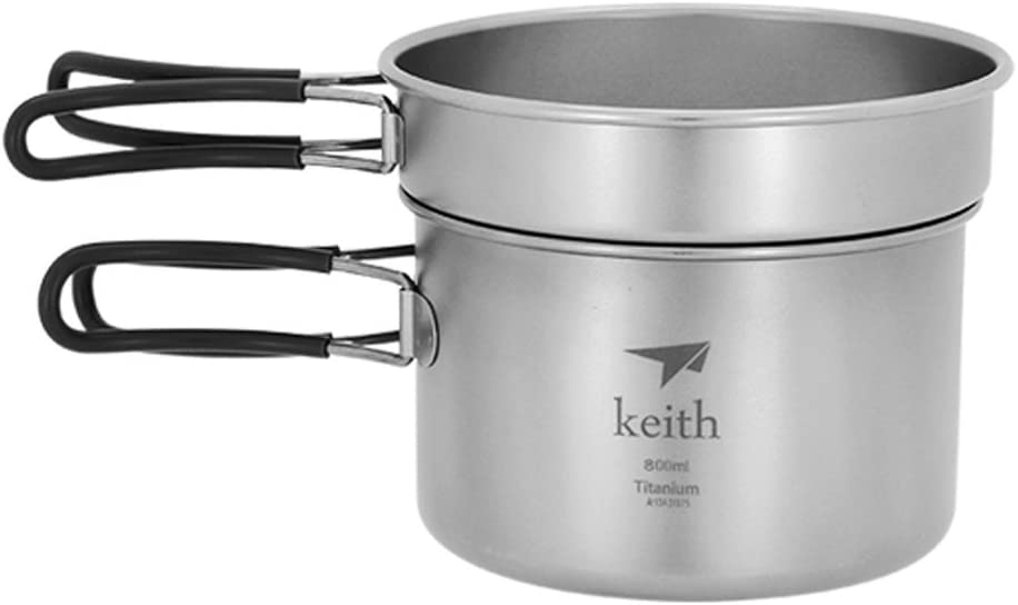 keith 1-2 persona de pote de titanio camping cookset cocina al aire libre picnic pan