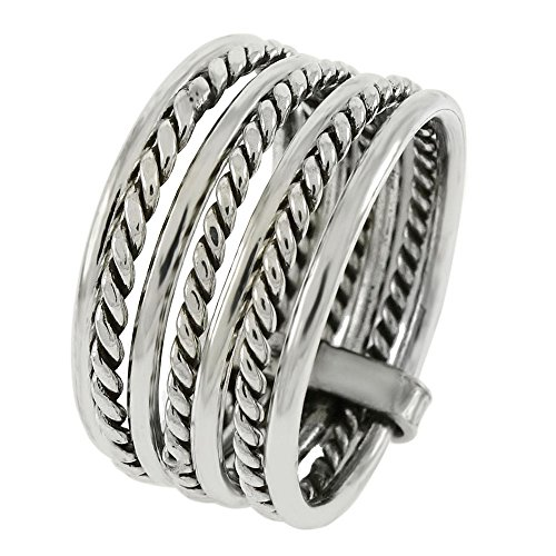 (Seven Interlocked Stacked Multi Bands Bali Braided Rope Sterling Silver Ring (9))