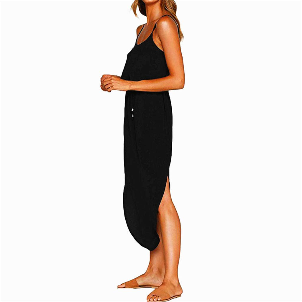 Dresses Women's Summer Casual Adjustable Strappy Solid Dress Sleeveless Side Split Beach Midi Sun Dress (Black, L) by miqiqism (Image #2)