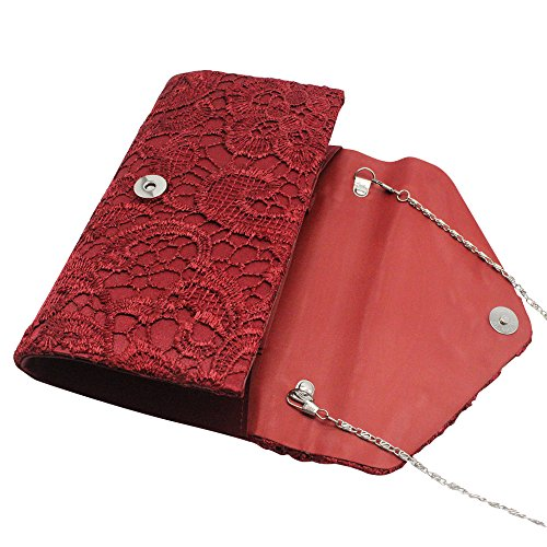 Wedding Lace Clutch Party Burgundy Bag Purse Floral Womens Envelope Red Elegant Handbag Cckuu xtqwzgXSx