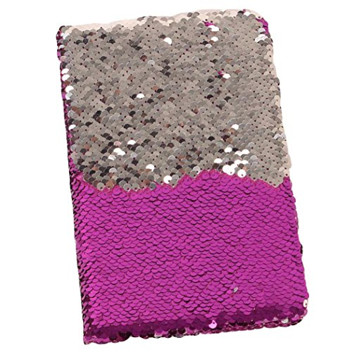Wensltd Colorblock Sequins Series Cover Notebook Journal Diary Book (Purple)