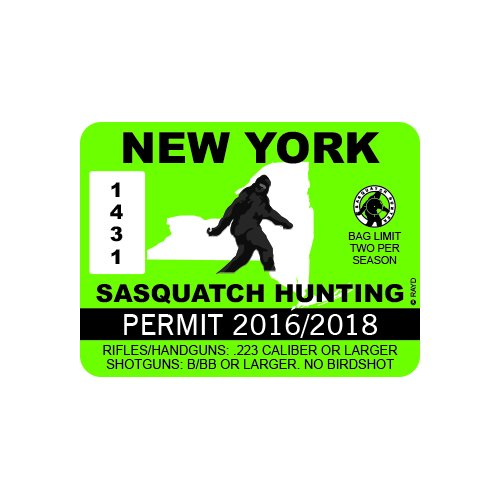 New York Sasquatch Hunting Permit - Color Sticker - Decal - Die Cut