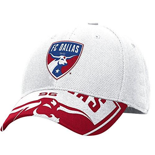 MLS M721Z FC Dallas Men's Structured Flex Jersey Hook Hat, Large/X-Large, White/Red