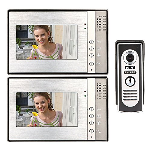 KKmoon 7 Inch Video Door Phone Doorbell Intercom Kit 1-camera 2-monitor Night Vision by KKmoon