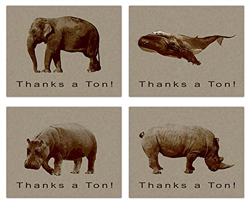Thank You Cards - Thanks a Ton - Elephant - Whale - Rhinoceros - Hippopotamus - Vintage - Blank on the Inside - Includes Cards and Envelopes - 4 Unique Designs - 5.5