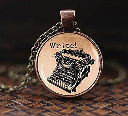 Old Typewriter - Colgante de estilo vintage, diseño de máquina de escribir, joyería antigua
