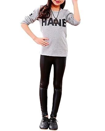 Fille Leggings Enfants Taille Élastique Faux Cuir Long Pantalons Noir 100CM 4ecbbec8e276