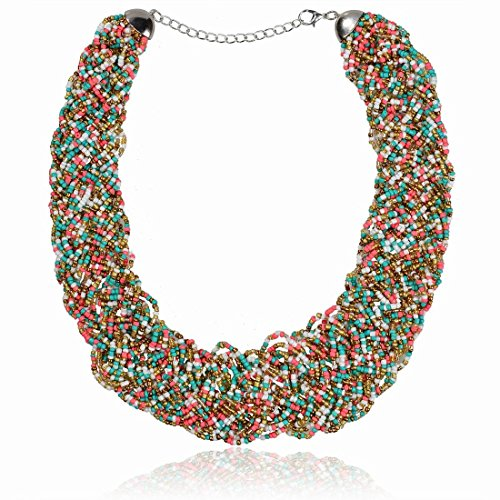 Multicolor Weave Glass Beaded Chain Multi Strand Short Choker Necklace