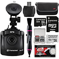 Transcend DrivePro 230 1080p HD Wi-Fi GPS Car Dashboard Video Camera with Suction Cup & 16GB Card + 32GB Card + Case + Lenspen + Reader + Kit