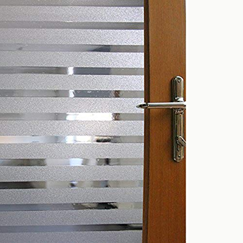 Color Your World Shower Static Cling Anti UV Window Film Self Adhesive Striped Window Film Home Office Stripe Decorative Frosted Privacy Stained Window Glass Film,17.7 x 78.7 inches(45CM by 200CM) (Tree Stained Glass Window Film)