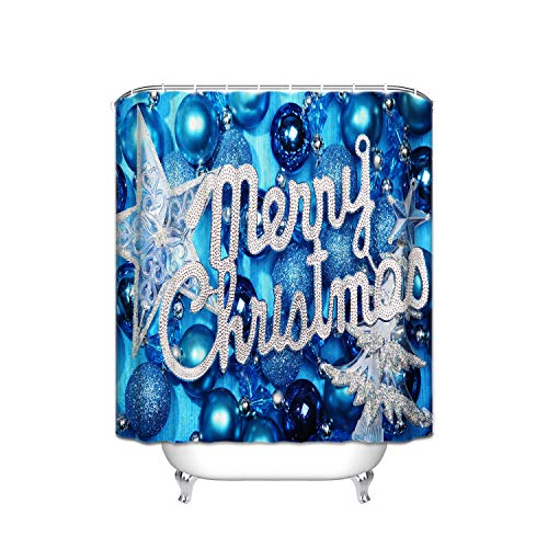 - JANNINSE Merry Christmas Gemstone Blue Shining Stars Interior Decorative Vertical Stripes Design Bathroom Curtain Anti-Mildew Repel Water Polyester, Curtain for Shower Stain Proof, 66