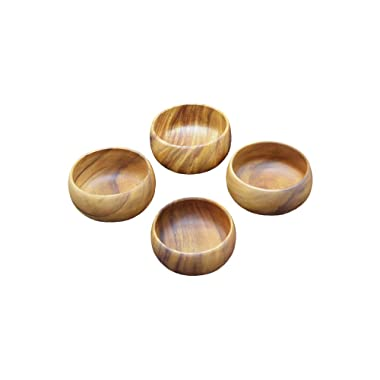Pacific Merchants Trading Pacific Merchants Acaciaware 6- by 3-Inch Acacia Wood Round Calabash Serving / Salad Bowl, Set of 4,Brown