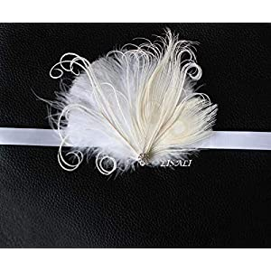 LISALI Ivory White Ostrich Feather Corsage Gatsby Wedding Feathers Wrist Corsage Feacock Corsage Prom Flower girl,Bridesmaid 1920s Corsage 117