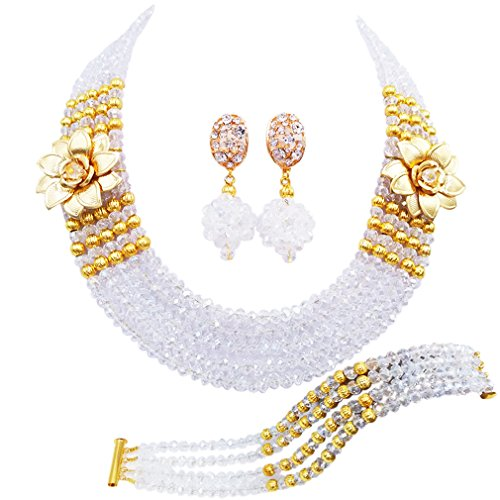 laanc 5 Rows Multicolors African Beads Jewelry Set,nigerian Wedding Beads Jewellery Sets A-022A (Transparent White)