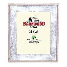 BarnwoodUSA Reclaimed Artisan Picture Frame (24x36, White Wash)