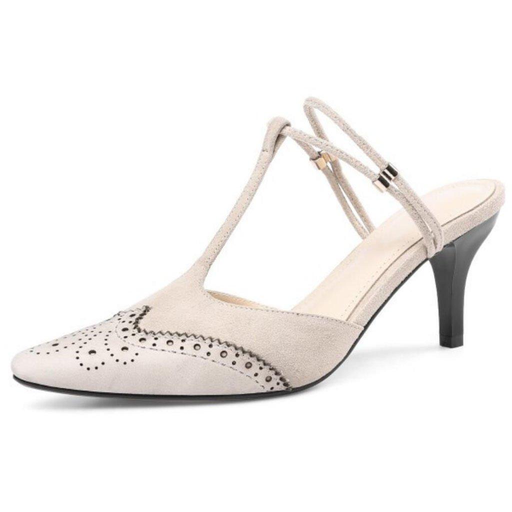 GAOLIXIA Frauen Leder Spitz High Heels Sommer Retro Geschnitzte Sandalen Mueller Schuhe Mode T-mouth Guuml;rtel Hausschuhe  34|Creamy-white