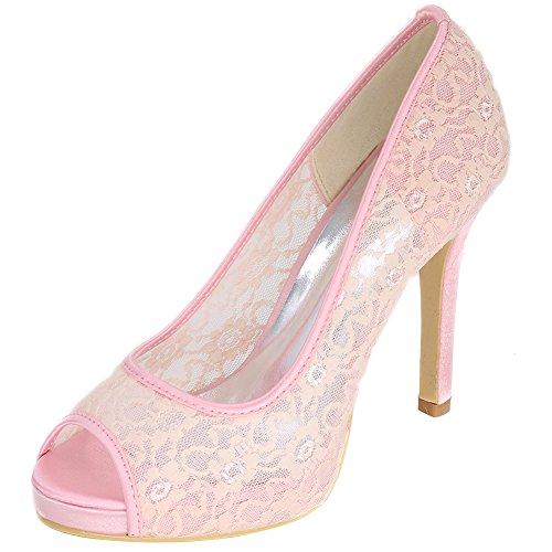 LOSLANDIFEN Womens High Heels Fashion Peep Toe pumps Wedding Lace Bridal shoes Pink ZBYzGvUE
