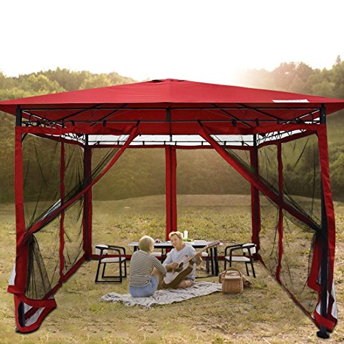 Quictent 10x10 Metal Gazebo with Netting Screened Pergola Canopy Patio Gazebo Backyard Shelter Soft Top Waterproof (Red)