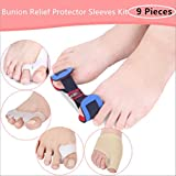 HOMEYU® Bunion Corrector & Bunion Relief Protector Sleeves Kit - Treat Pain in Hallux Valgus, Big Toe Joint, Hammer Toe, Toe Separators Spacers Straighteners splint Aid surgery treatment(9 Pieces