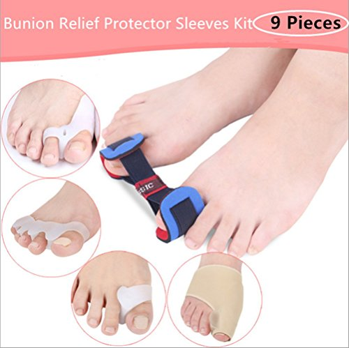 HOMEYU® Bunion Corrector & Bunion Relief Protector Sleeves Kit - Treat Pain in Hallux Valgus, Big Toe Joint, Hammer Toe, Toe Separators Spacers Straighteners splint Aid surgery treatment(9 Pieces by HOMEYU®