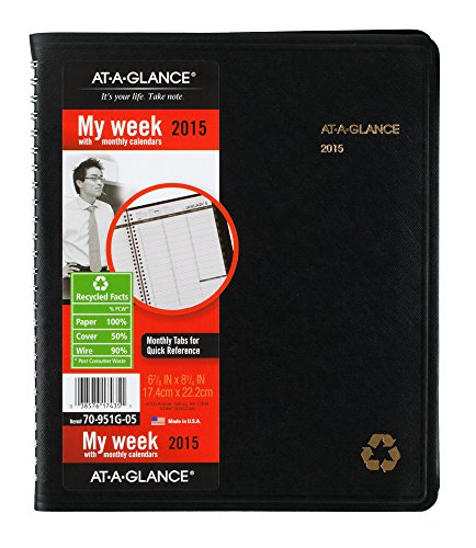 AT-A-GLANCE 70951G05 Recycled Weekly/Monthly Classic Appointment Book, 6 7/8 x 8, Black, (Simulated Leather Living Room)