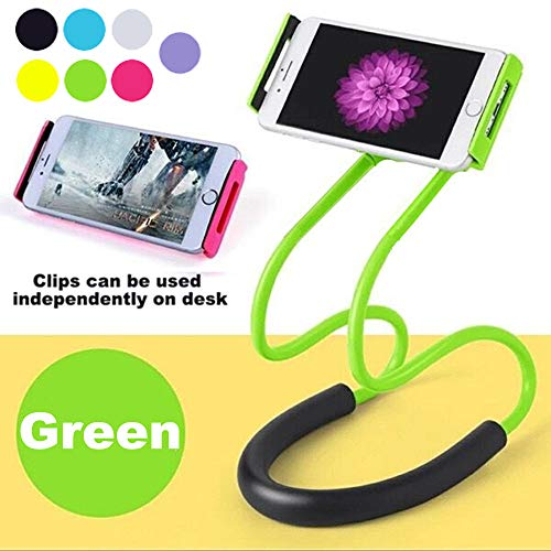 Cell Universal Green Phone (Lazy Hanging on Neck Cell Phone Mount Holder, Universal Mobile Phone Stand, Bracket DIY Free Rotating for Multiple Functions (Green))