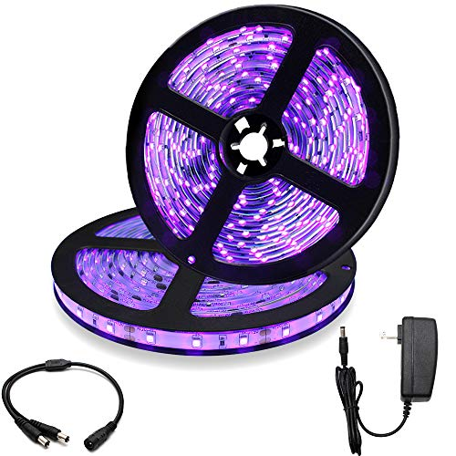 33Ft/10M 24W LED UV Black Light Strip Kit, 600 Units UV Lamp Beads, 12V Flexible Blacklight Fixtures, 395nm-405nm Non-Waterproof for Indoor DJ Fluorescence Party, Body Paint, Posters, Night Fishing -