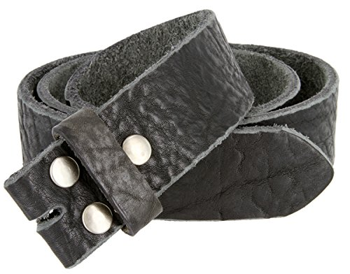Mens Full Grain Genuine Cowhide Leather Belt Strap Hand-Crafted In USA (Black Calfskin Belt Strap)